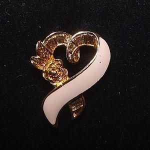 Breast Cancer Awareness Pink Heart Ribbon Pin-Rose